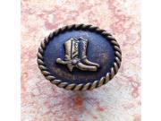 JVJHardware 06305 Lone Star .69 in. Diameter Cowboy Boots Knob - Antique Brass