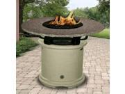 California Outdoor Concepts 2050-CB-PG6-BM-42 Del Mar Balcony Height Fire Pit-Brown-Rose Glass-Black Mahogany - 42 in.