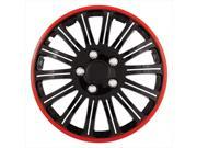 Pilot Automotive WH527-16RE-BX 16 In. Wheel Cover - Cobra Black Chrome, Red