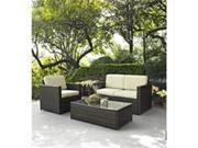Crosley Furniture KO70006BR Palm Harbor 3 Piece Outdoor Wicker Seating Set - Loveseat, Chair and Glass Top Table