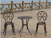 Antique Bronze Finish Cast Aluminum Home Patio Outdoor Lawn Garden 3 Piece Bistro Table Chair Furniture Set