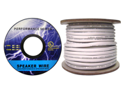Cable Wholesale 14/2 (14AWG 2C) 105 Strand/0.16mm Speaker Cable CM / Inwall Rated Oxygen-Free White 100 ft Spool