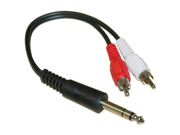 Cable Wholesale Stereo to RCA adapter 1/4 Stereo Male / 2 RCA Male 6 inch Y-cable