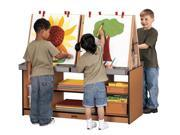 Jonti-Craft Sproutz Kids Classroom Foldable Double Sided 4 Station Art Easel Activity Center Cubby Tray Storage Navy