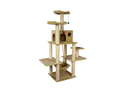 "Armarkat 72"" Wooden Step Pet Cat Tower Tree Condo Scratcher Furniture Post Play Kitten House Beige"