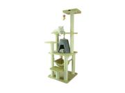 "Armarkat A6501 65"" Wooden Step Pet Tower Tree Condo Scratcher Furniture Post Play Kitten House - Beige"