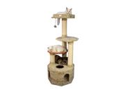 "Armarkat 57"" Soft Heavy Wooden Premium Condo House Pet Cat Tower Tree Furniture Khaki"