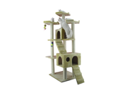 Armarkat Wooden Step Pet Cat Tower Tree Condo Scratcher Furniture Post Play Kitten House Beige