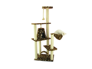 """Armarkat 66"""" Wooden Step Pet Cat Tower Tree Condo Scratcher Furniture Play Kitten House Saddlebrown"""