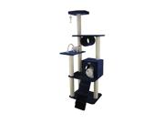 Armarkat 71-Inch Wooden Step Cat Tower Tree Condo Scratcher Kitten House- Navy Blue