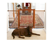 Richell Extra Wide Tension Mount hardwood Pet Gate With Door - Autumn Matte
