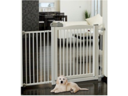 Richell Extra Wide Tension Mount hardwood Pet Gate With Door -  White