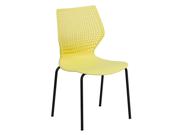 Flash Furniture Hercules Series 770 Lb. Capacity Designer Yellow Stack Chair With Black Frame [RUT-358-YL-GG]