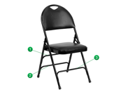 Flash Furniture HERCULES Series Extra Large Ultra-Premium Triple Braced Black Vinyl Metal Folding Chair with Easy-Carry Handle