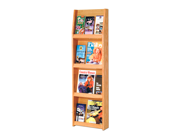 "Wooden Mallet Home Office Library  Slope 12 Pocket Literature Display Storage Rack 4""x3"" Light Oak"