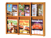 Wooden Mallet Home Office Divulge 6 Magazine 12 Brochure Wall Display Rack with Brochure Inserts Medium Oak