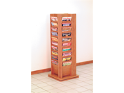 Wooden Mallet Cascade Revolving Floor 40 Books Magazine Holder Display Shelf Rack Stand Furniture in Medium Oak