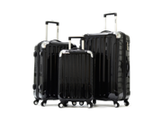 Olympia Stanton 3 piece Hardcase Airline Outdoor Travel Rolling Luggage Suitcase set in Black