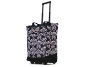 Olympia 20 inch Fashion Rolling Carry-On Wheeled Shopper Suitcase Tote Bag in Damask Black