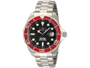 Invicta 12565 Men's Grand Diver Black Carbon Fiber Dial Red Bezel Stainless Stee