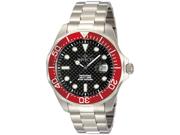 Invicta 12565 Men's Grand Diver Black Carbon Fiber Dial Red Bezel Stainless Stee