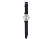 Swatch Originals White Washed  Out Silver Dial Blue Textile Mens Watch SUOK103