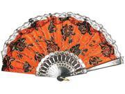 Day Of The Dead Lace Trim Costume Fan One Size