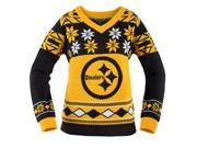 Pittsburgh Steelers NFL Women's Big Logo V-Neck Ugly Christmas Sweater Medium