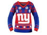 New York Giants NFL Women's Big Logo V-Neck Ugly Christmas Sweater X-Large