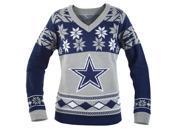 Dallas Cowboys NFL Women's Big Logo V-Neck Ugly Christmas Sweater Small
