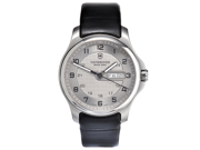 Victorinox Swiss Army Officer Day Date Grey Dial Steel Mens Watch 2415502