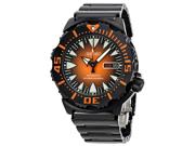Seiko Divers Automatic Orange Sunburst Dial Black Steel Mens Watch SRP311