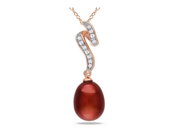 9.5MM Cultured Chocolate Freshwater Pearl & Diamond Sterling Silver Pendant w/Chain & Pink Rhodium