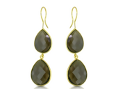 34 Carat Smoky Quartz 22K Yellow Gold Plated Sterling Silver Dangle Earrings