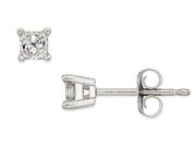 1/4 Carat Princess Cut Diamond 14K White Gold Solitaire Earrings