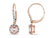 1 3/5 Carat Morganite and Diamond 10K Pink Gold Earrings