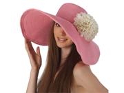 Luxury Lane Women's Pink Floppy Sun Hat with White Flower Appliques