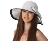 Luxury Lane Women's White Ribbon Sun Hat