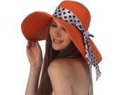 Luxury Lane Women's Orange Floppy Ribbon Sun Hat