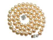 """Peach Pink 7-8mm AAA Cultured Pearl Strand Silver Choker Necklace 16"""" (LS1R2)"""