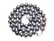 """Enhanced Black 8-9mm AA Cultured Pearl Strand Silver Choker Necklace 16"""""""