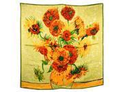 "100% Satin Charmeuse Silk Van Gogh's ""Sunflower"" Square Scarf Shawl"