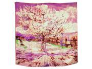 "100% Satin Silk Van Gogh's ""Peach Tree in Bloom"" Square Scarf Shawl - Pink"
