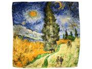 "100% Luxurious Charmeuse Silk Van Gogh's ""Road with Men Walking"" Square Scarf"