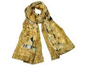 "100% Charmeuse Silk Gustav Klimt's ""Adele Bloch-Bauer I"" Long Scarf Shawl"