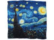 "Van Gogh's ""Starry Night"" 100% Charmeuse Silk Square Scarf"