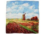 "100% Silk Claude Monet's ""Tulip Field with the Rijnsburg Windmill"" Square Scarf"