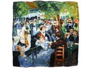 "100% Silk Pierre-Auguste Renoir ""Dance at Le Moulin de la Galette"" Square Scarf"