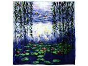 "100% Luxurious Charmeuse Silk Claude Monet's ""Nympheas"" Square Scarf"