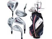 2015 Ladies Cleveland Bloom Max Full Set RH Navy 10 Clubs + Cart Bag NEW